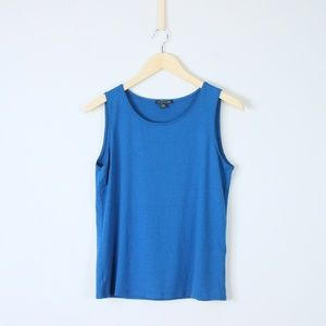 Eileen Fisher Rayon Knit Stretch Solid Tank Top